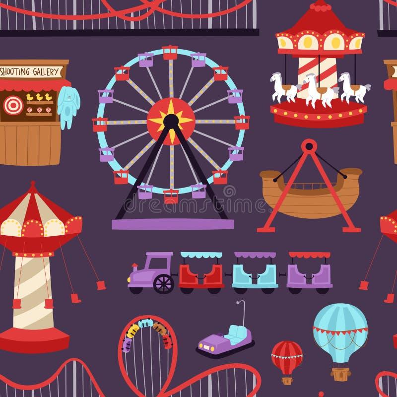 El papel secundario de la atracción de la diversión de los carruseles embroma el ejemplo del vector de la construcción del parque libre illustration