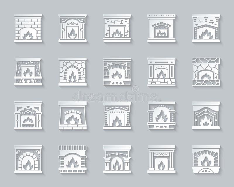 El papel simple de la chimenea cortó el sistema del vector del fuego de los iconos libre illustration