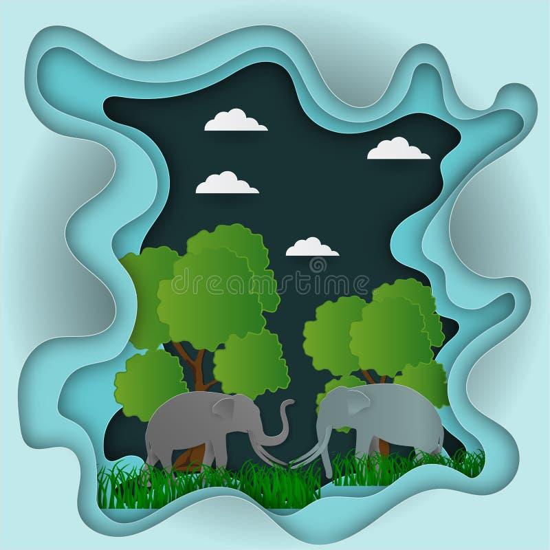El papel talla para ajardinar con el elefante y el árbol en el fondo del extracto de la idea de la ecología de la naturaleza, eje stock de ilustración