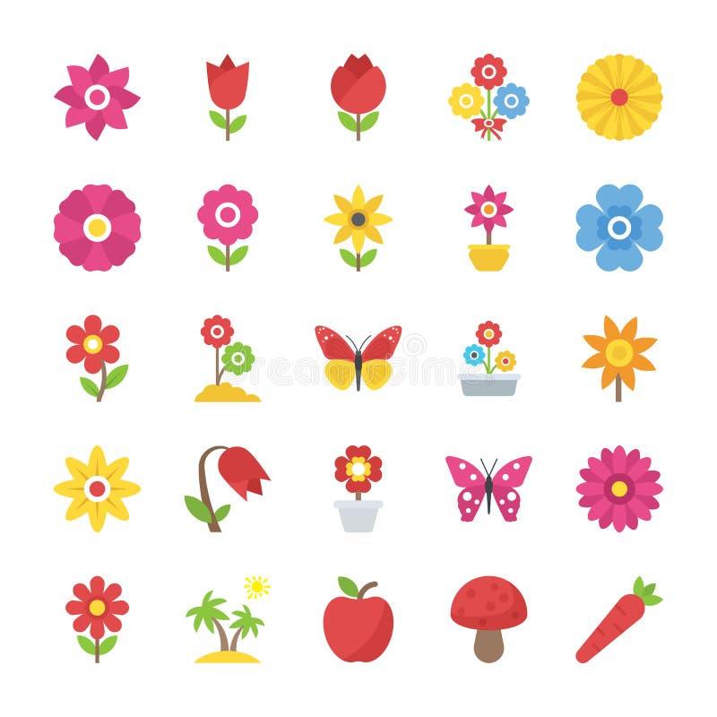 El paquete de belleza natural florece vectores planos stock de ilustración