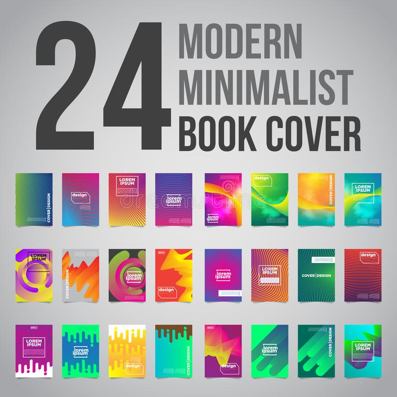 El paquete de 24 cubiertas minimalistas futuristas coloridas diseña Ilustración del vector EPS10 libre illustration