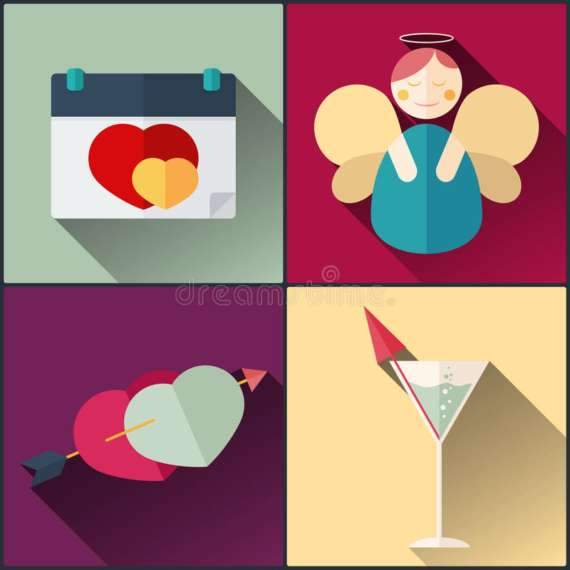 El paquete de día del ` s de la tarjeta del día de San Valentín incluyó el calendario, ángel, corazón del amor, cóctel ilustración del vector
