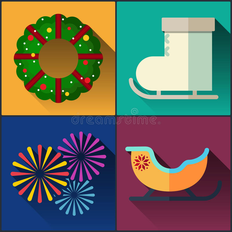 El paquete del icono del Año Nuevo incluyó el trineo, patines, la guirnalda de la Navidad y los fuegos artificiales libre illustration