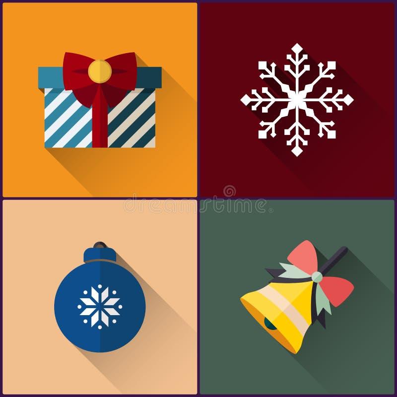 El paquete del icono del Año Nuevo incluyó la campana de la Navidad, la bola, el copo de nieve y el regalo stock de ilustración