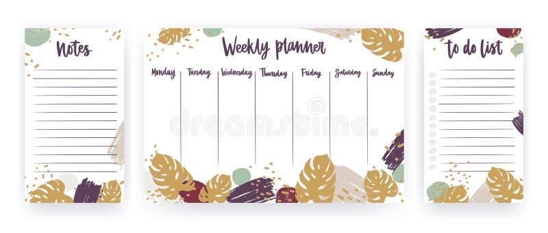 El paquete del planificador semanal, hoja para las notas y hacer las plantillas de la lista adornadas con monstera tropical se va stock de ilustración