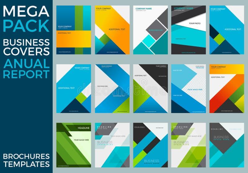 El paquete mega de las plantillas del folleto del informe anual del negocio, cuadrados, líneas, triángulos, agita stock de ilustración