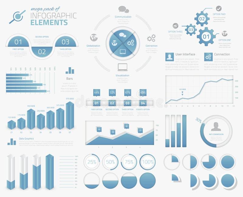 El paquete mega de los gráficos infographic, cartas, empanadas, opta libre illustration