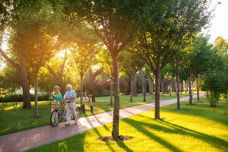 El par con la bici está caminando fotos de archivo libres de regalías