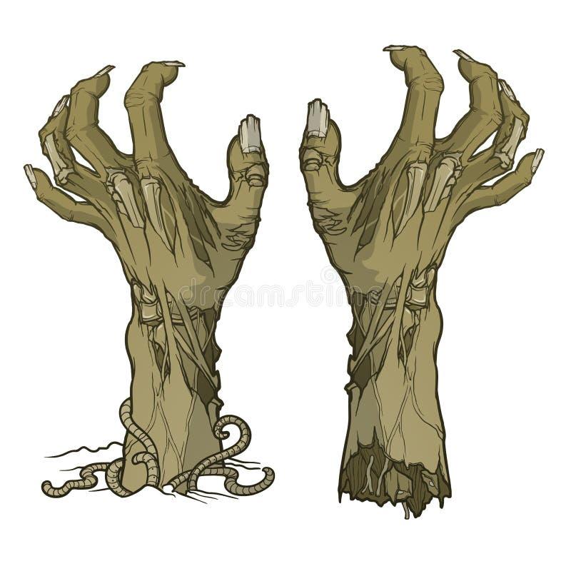 El par de zombi da el levantamiento de la tierra y destrozado libre illustration