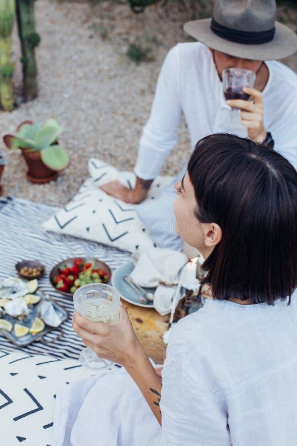 El par del inconformista bebe el vino en comida campestre imagen de archivo