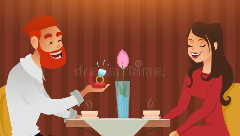 El par en amor, la tarde romántica en restaurante o el café, hombre joven presenta el anillo con el diamante grande el suyo queri stock de ilustración