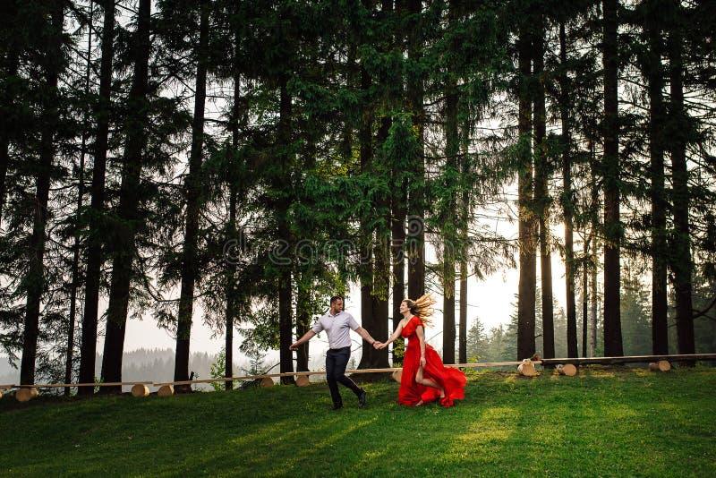El par feliz hermoso en amor está corriendo por la mano a lo largo del bosque verde del verano durante la puesta del sol fotos de archivo