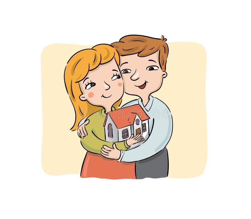 El par joven feliz sostiene la nueva casa ilustración del vector