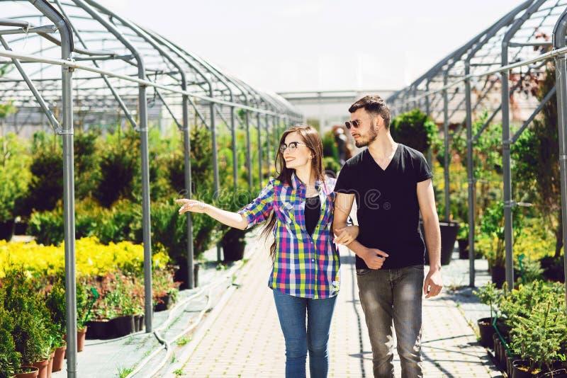 El par joven hermoso en ropa casual está eligiendo las plantas y está sonriendo mientras que situación en el invernadero imagen de archivo