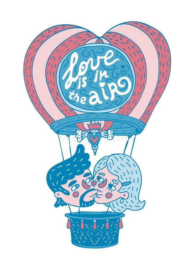 El par joven que se besa en un baloon caliente con amor del ` de la frase de las letras está en el ` del aire stock de ilustración