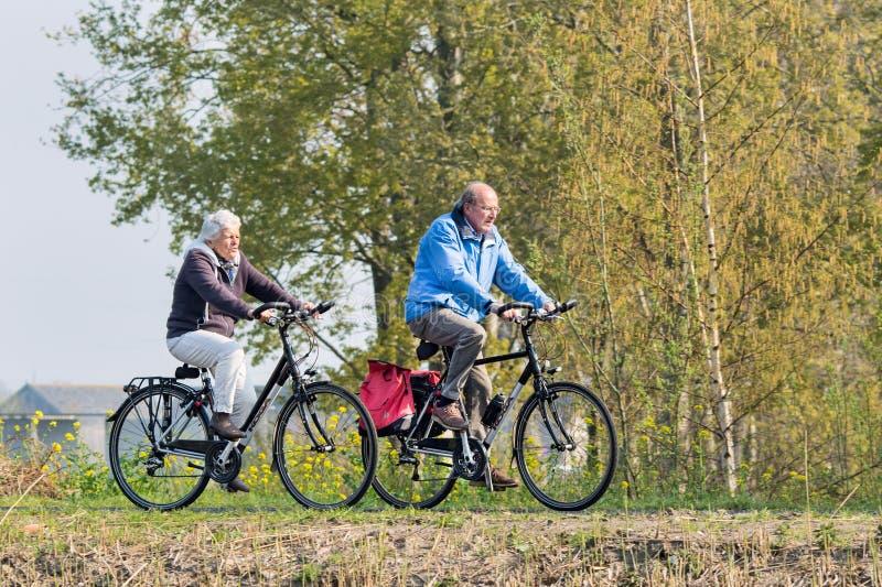 El par mayor de ciclo disfruta del tiempo de la primavera, Brabante, Países Bajos fotografía de archivo libre de regalías