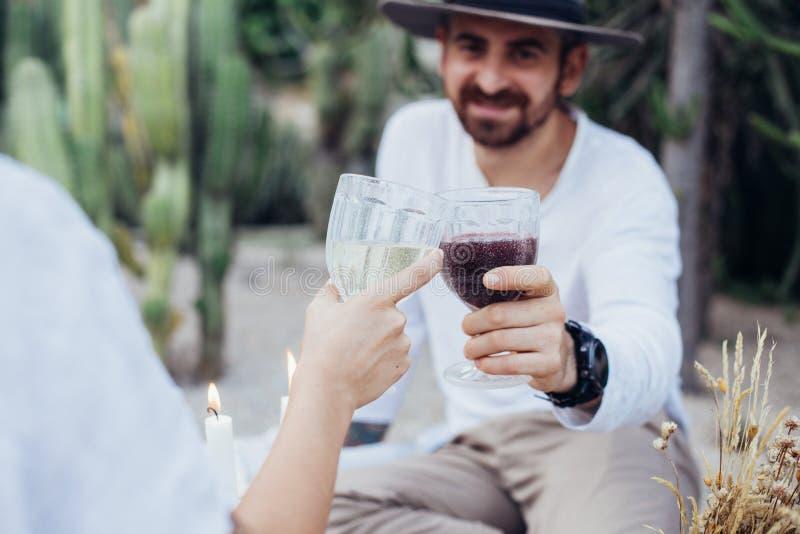 El par tintinea los vidrios en comida campestre elegante fotografía de archivo libre de regalías