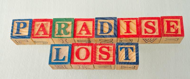 El paraíso del término perdió exhibido visualmente fotografía de archivo libre de regalías