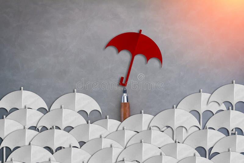 El paraguas rojo único entre otro papel blanco de los paraguas cortó styl libre illustration