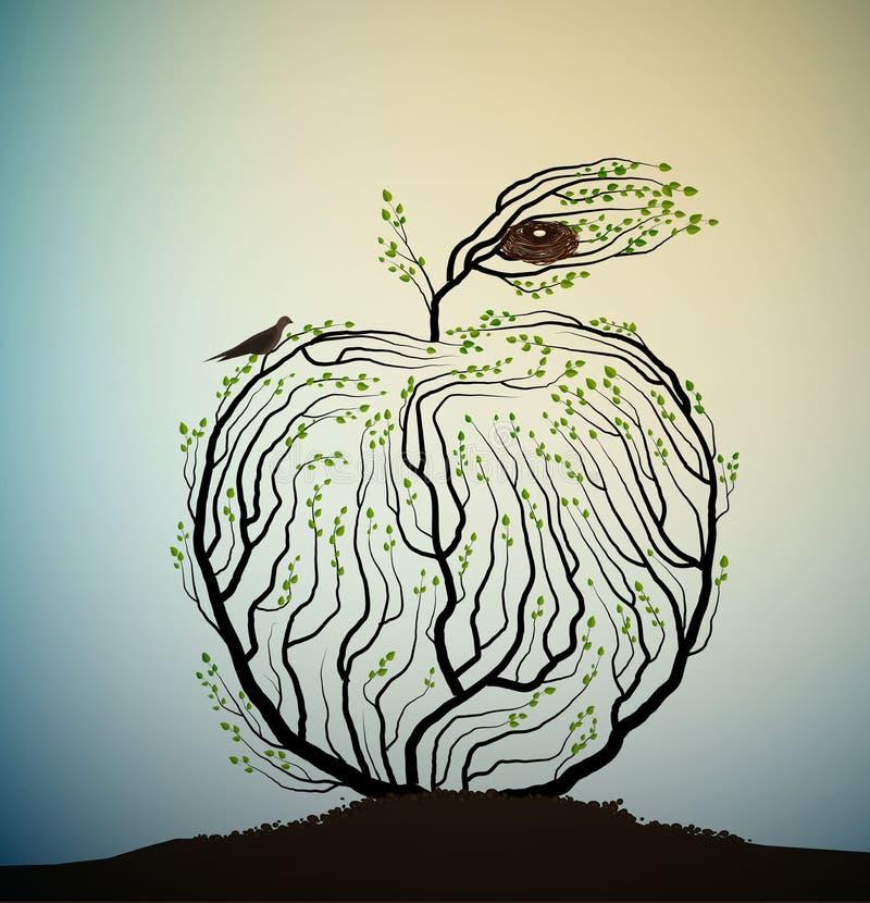 El parecer de Apple ramas de árbol con la jerarquía y los pájaros, idea de la fruta del eco, producto real de la naturaleza, toma stock de ilustración