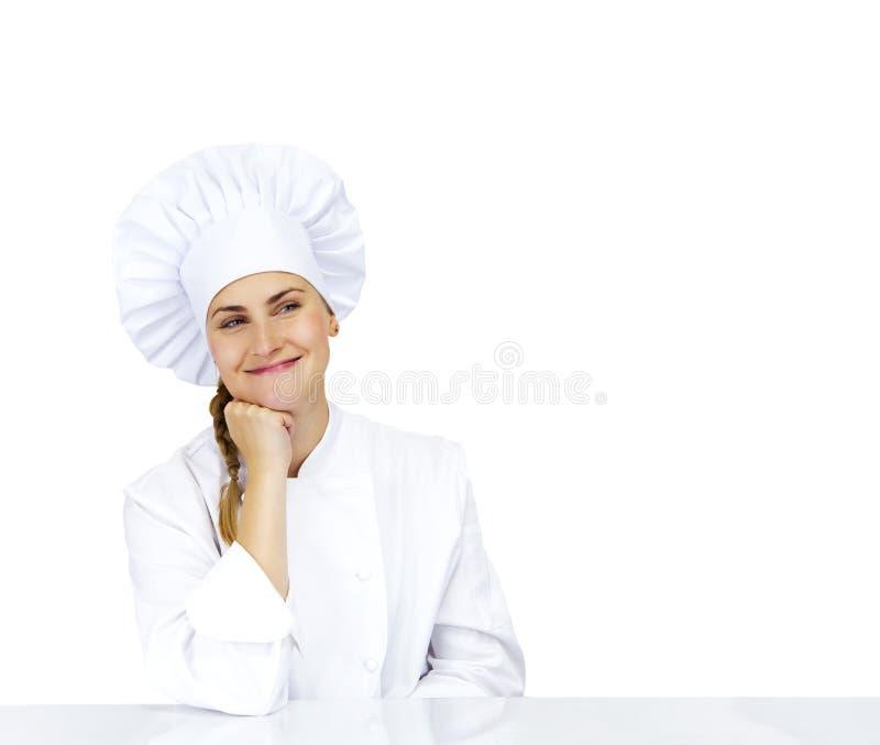 El parecer de pensamiento del cocinero sonriente y feliz a la cara Cocinero de la mujer, foto de archivo