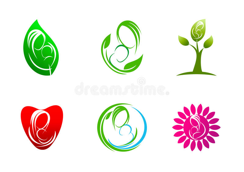 El Parenting, logotipo, cuidado, plantas, hoja, símbolo, icono, diseño, concepto, natural, madre, amor, niño stock de ilustración