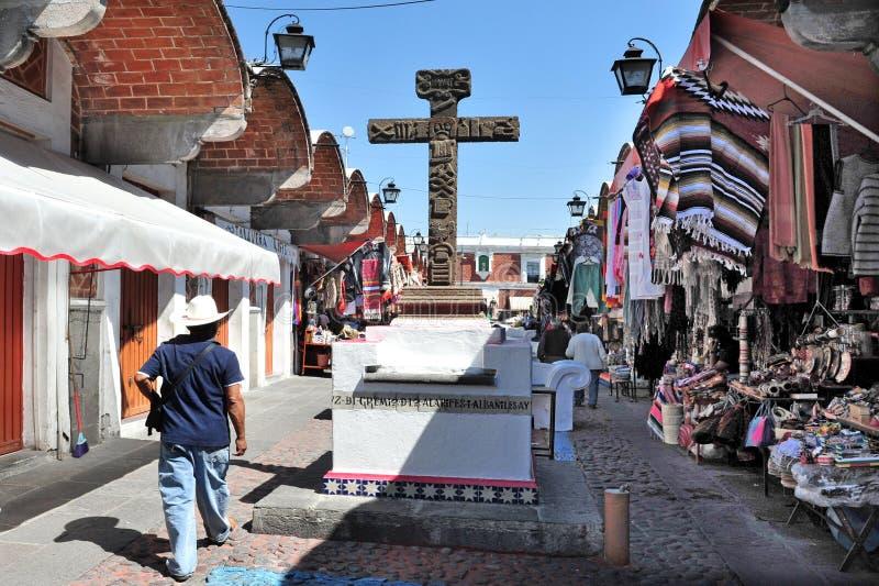 El Parian市场在普埃布拉市墨西哥 库存图片