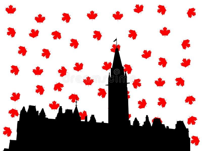 El parlamento canadiense en la ilustración del otoño libre illustration