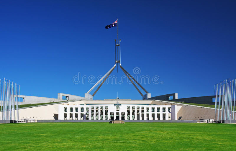 El parlamento contiene en Canberra, Australia foto de archivo libre de regalías