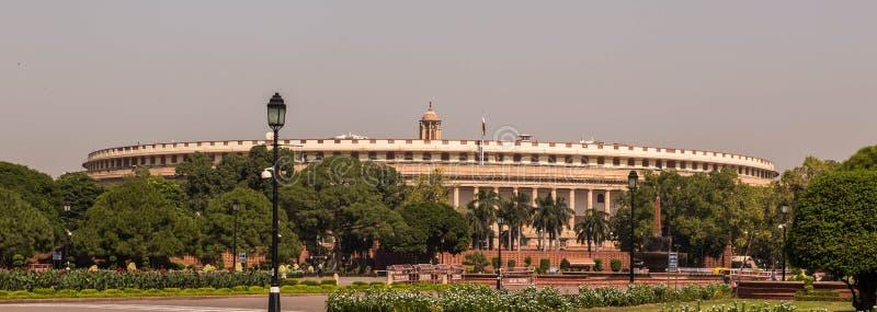 El parlamento de la India en Delhi foto de archivo