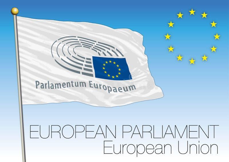 El Parlamento Europeo señala por medio de una bandera, unión europea ilustración del vector