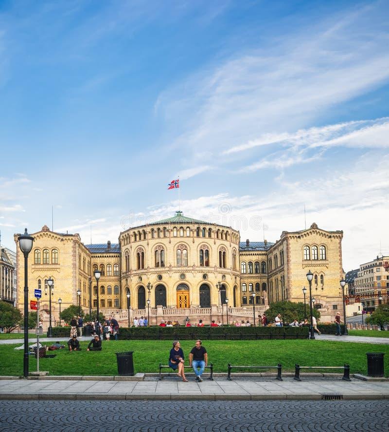 El parlamento noruego Stortinget en Oslo fotografía de archivo