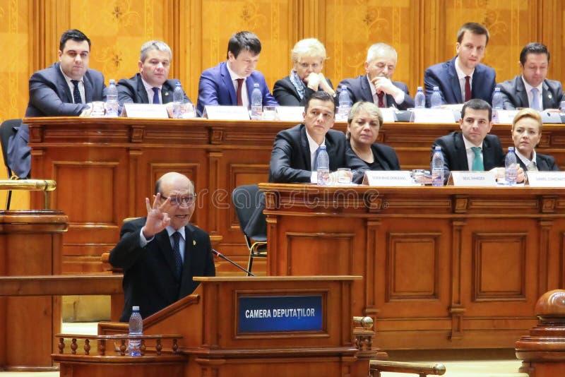 El parlamento rumano - movimiento de ninguna confianza contra el gobierno imágenes de archivo libres de regalías