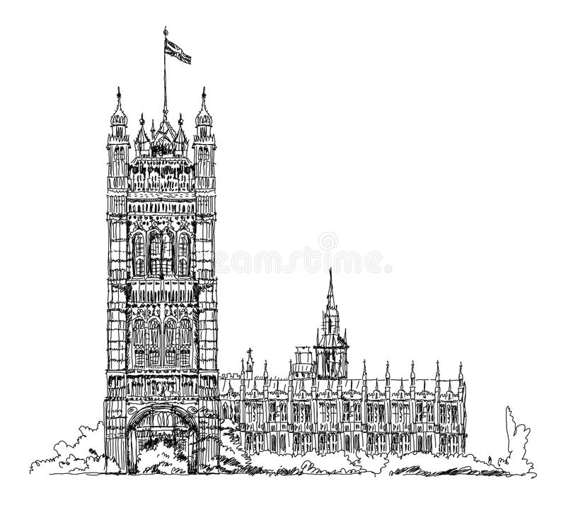 El parlamento se eleva en Londres, colección del bosquejo, puerta del Buckingham Palace stock de ilustración