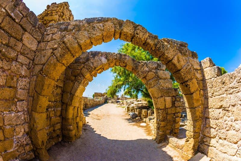 El parque arqueológico en Caesarea antigua imágenes de archivo libres de regalías