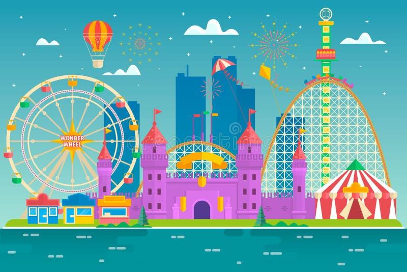 El parque de atracciones con la atracción y roller coaster, tienda con el circo, carrusel o atracción redonda, feliz va ronda, fe stock de ilustración