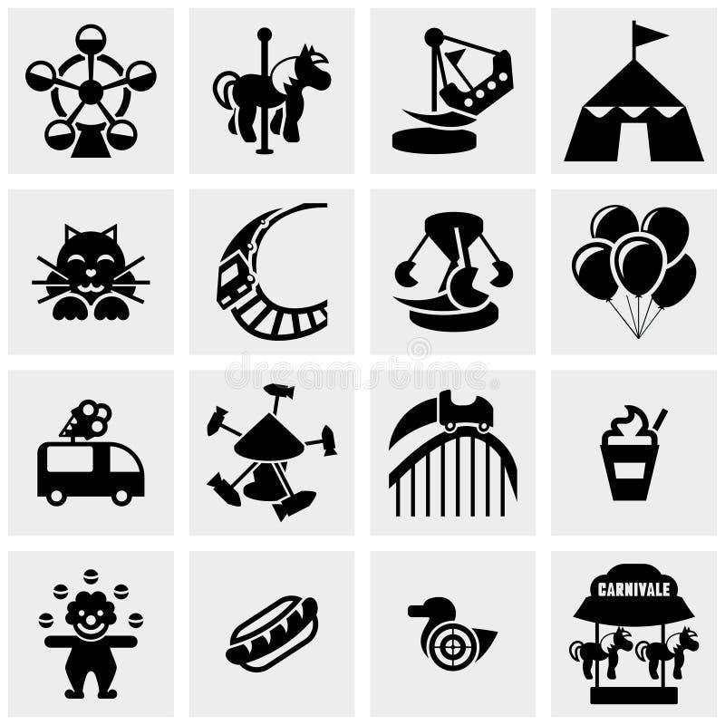 El parque de atracciones, iconos del vector del circo fijó en gris stock de ilustración