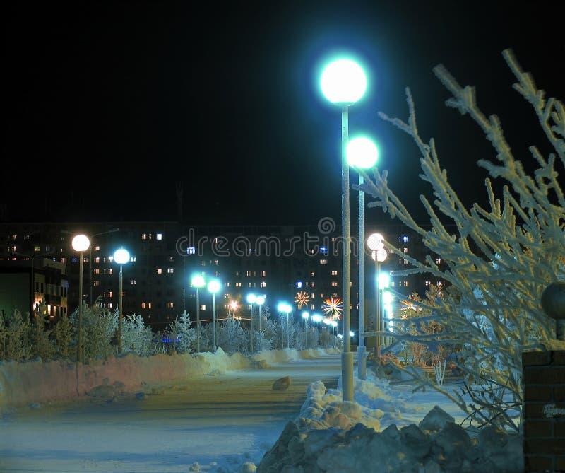 El parque de la ciudad en la noche. imagen de archivo