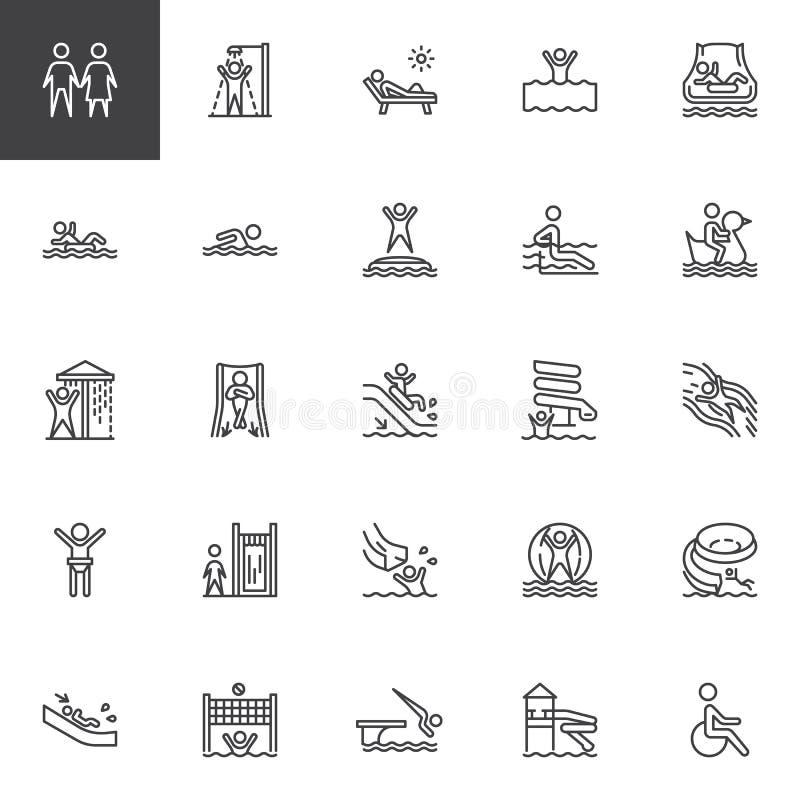El parque del agua desliza la línea sistema de los iconos ilustración del vector