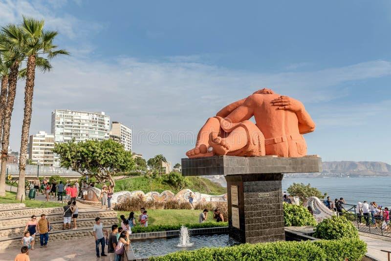 El Parque del Amor, Lovers Park, Miraflores, Lima, Peru. Lima, Peru- March 13, 2017: El Parque del Amor statue in Lovers Park, Miraflores, Lima, Peru stock photo