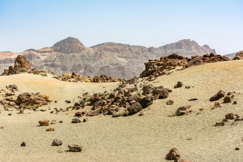 El parque nacional de Teide ocupa el área más alta de la isla de Tenerife en las islas Canarias y la España imagen de archivo