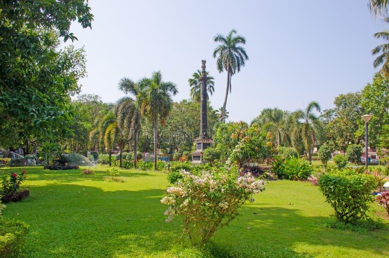 El parque tropical la ciudad de Panaji de la India con las palmeras y las flores fotos de archivo libres de regalías