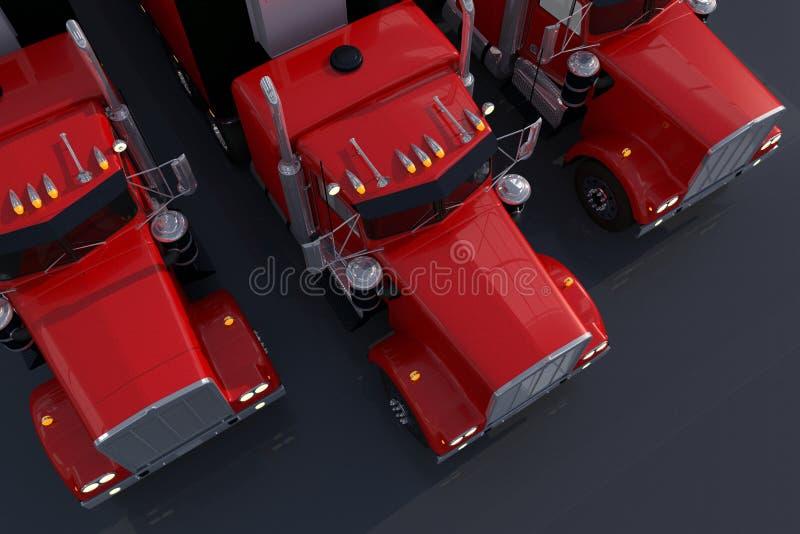El parquear americano de los camiones ilustración del vector