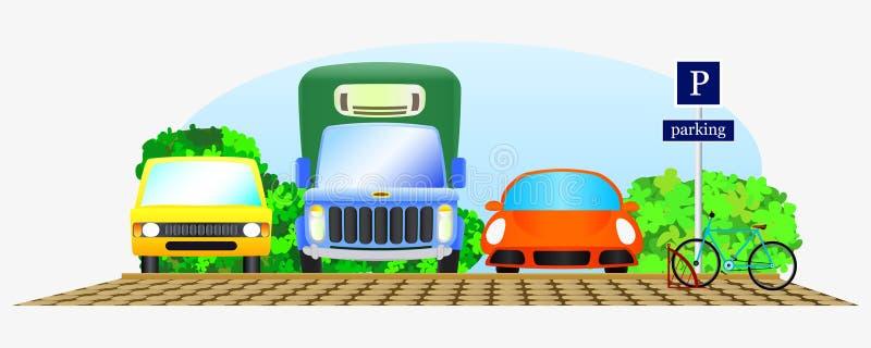 El parquear con el coche tres libre illustration