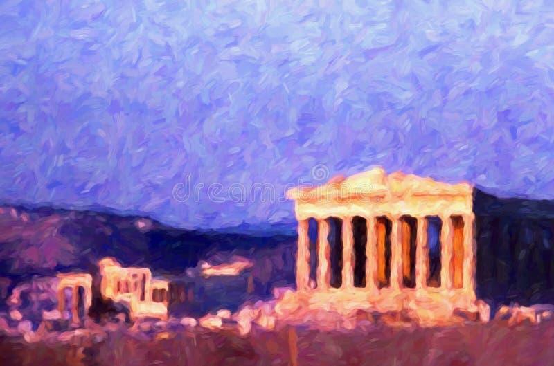 El Parthenon del griego clásico, Atenas, Grecia, estilo de la pintura al óleo stock de ilustración