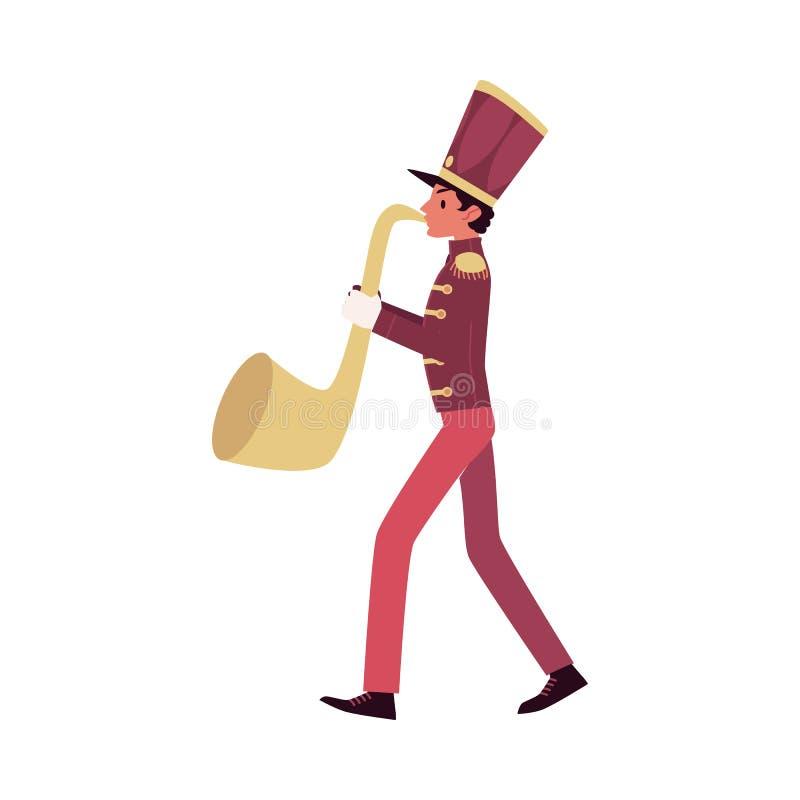 El participante del desfile y de la banda, un jugador de saxofón hecho frente rojo toca un saxofón o una trompeta libre illustration