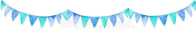 El partido azul de la acuarela señala la bandera por medio de una bandera Para el diseño, la impresión o el fondo stock de ilustración