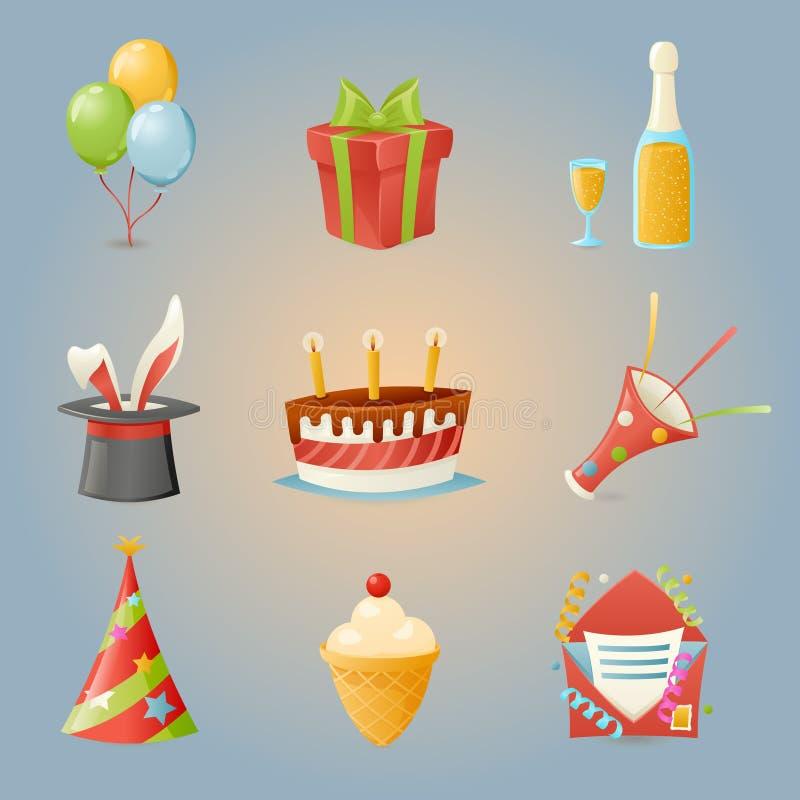 El partido celebra el ejemplo realista del vector del diseño de la historieta de los iconos del cumpleaños y del sistema de símbo stock de ilustración