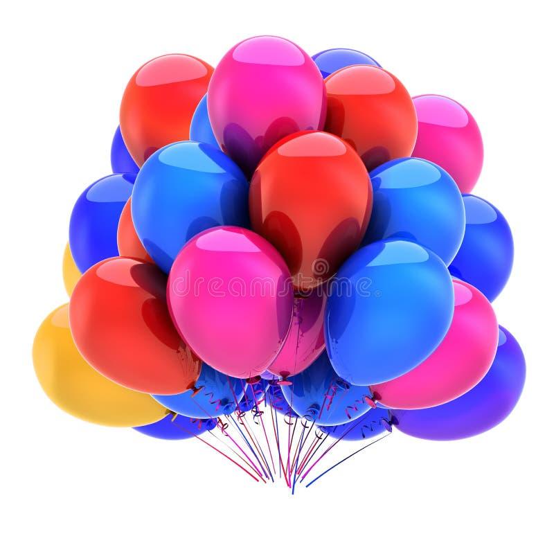El partido colorido hincha, azul rosado rojo de la decoración del feliz cumpleaños stock de ilustración