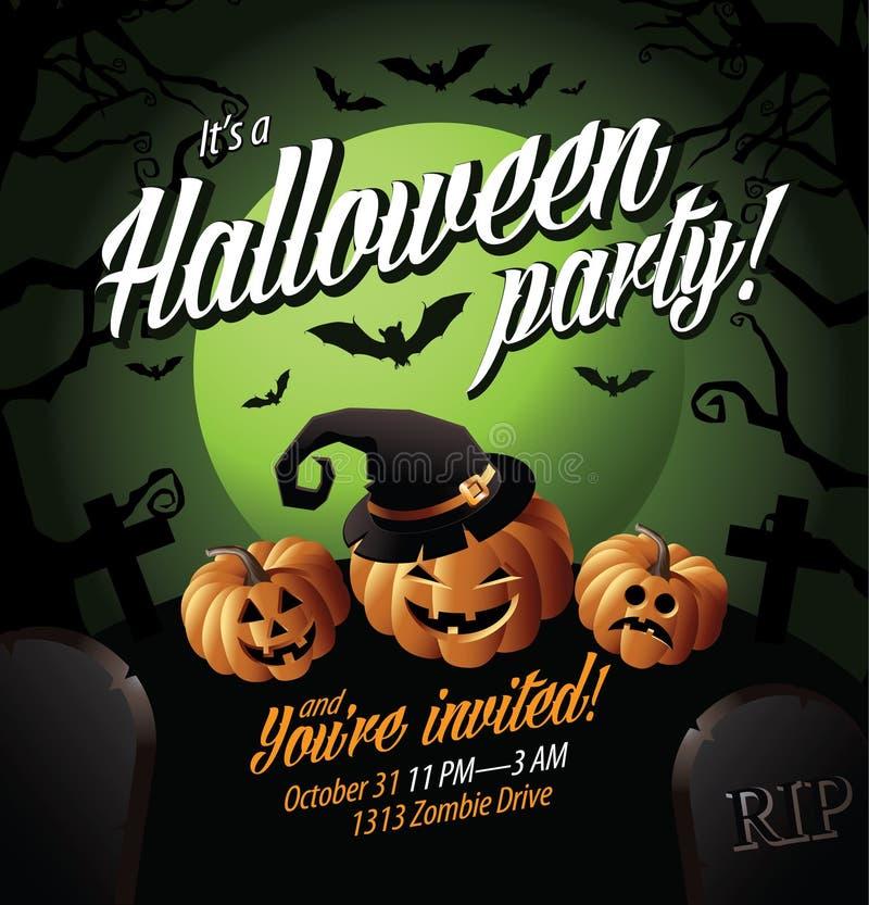 El partido de Halloween invita a las calabazas debajo de una luna verde stock de ilustración